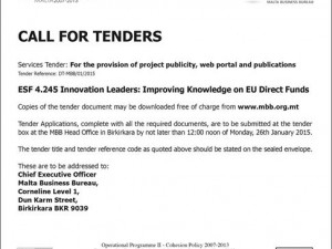 Call for Tenders for The Provision of Publicity, Web Portal and Publications