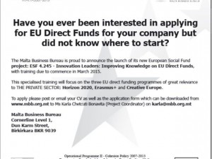 Do you need help in applying for Direct EU funds?