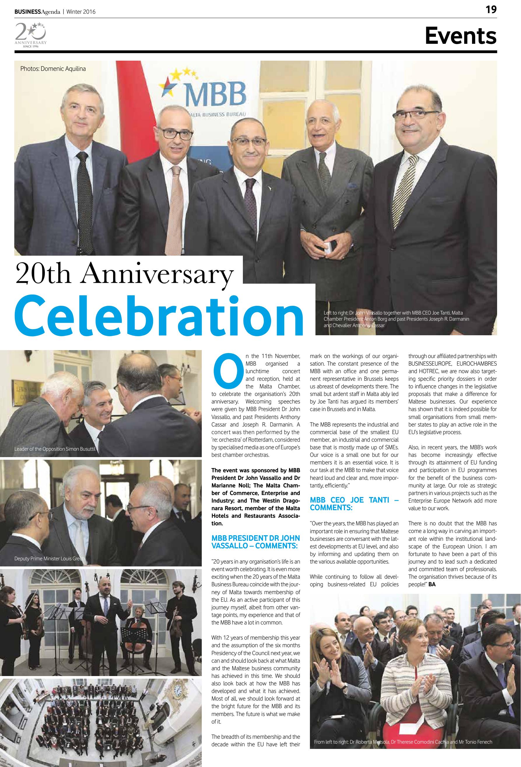 2396738eb2 MBB 20th Anniversary Celebration | Malta Business Bureau