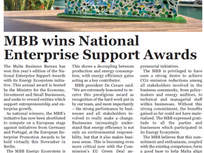 Malta Business Weekly (15th October): MBB Wins National Enterprise Awards